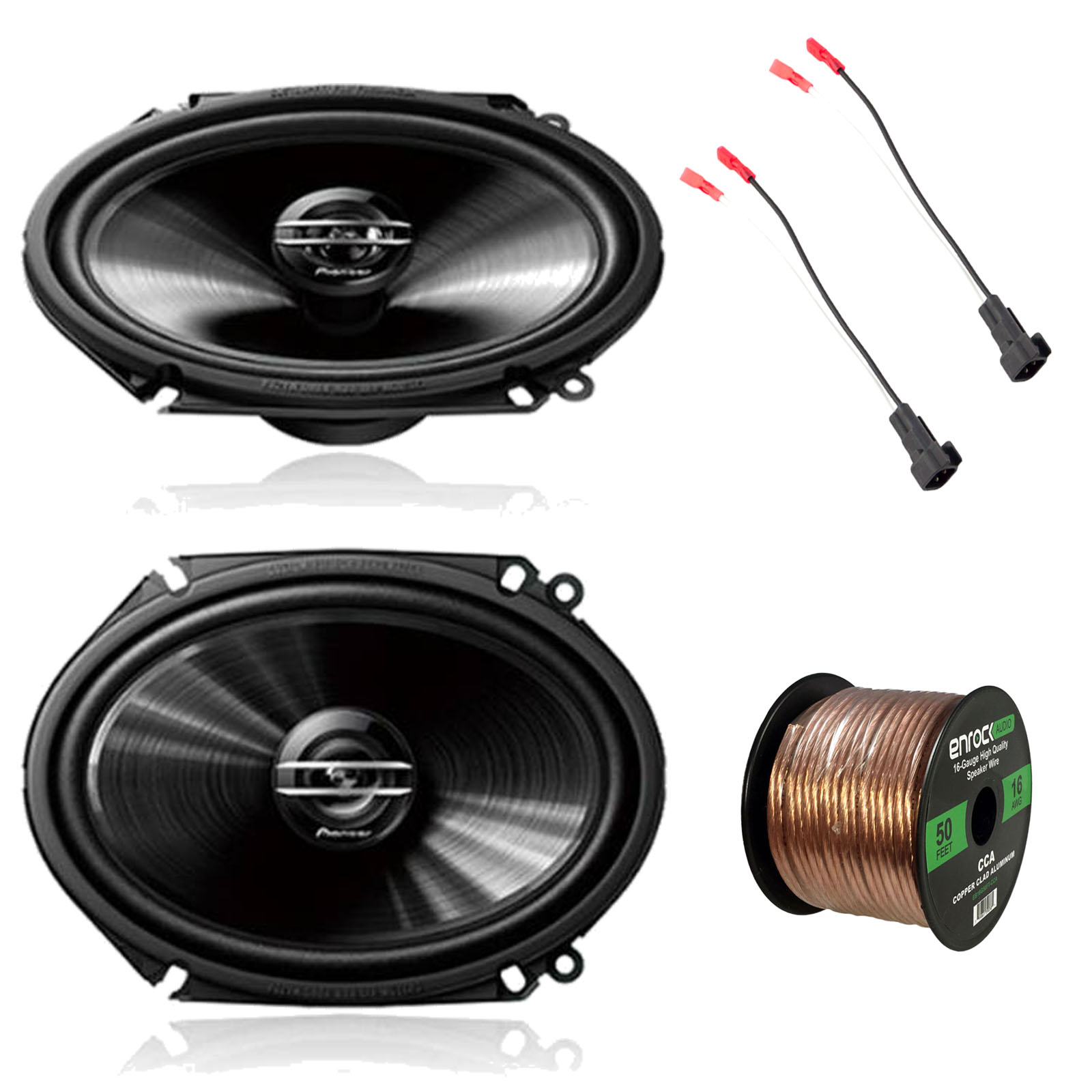 "2x Pioneer TS-G6820S 250 Watt 6x 8"" 2-Way Coaxial Car Audio Speakers, 2x Enrock EFDSH98UP Speaker Adapter for Select 98' and up Ford Vehicles (pair), Enrock Audio 16-Gauge 50 Foot Speaker Wire"