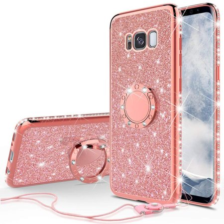 5b79b86f46cc SOGA Diamond Bling Glitter Cute Phone Case with Kickstand Compatible for Samsung  Galaxy Note 8 Case,Rhinestone Slim Bumper with Ring Stand Girls Women Cover  ...