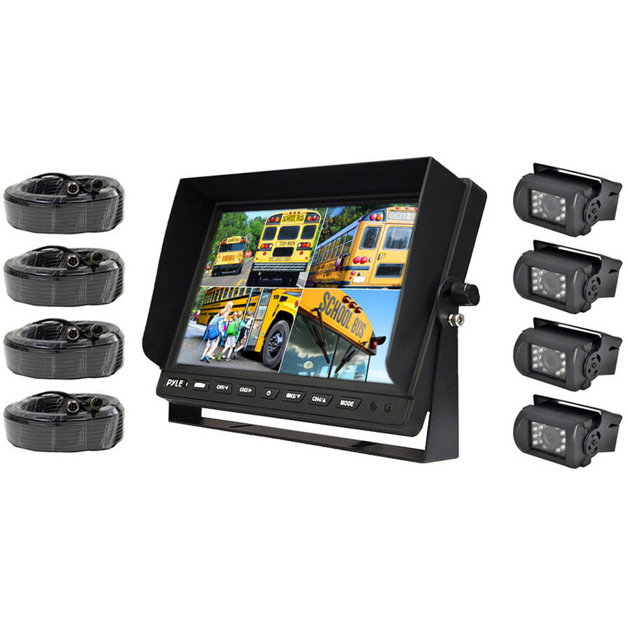 Pyle PLCMTR104 Weatherproof Rearview Backup Camera and Monitor Safety Driving Video System
