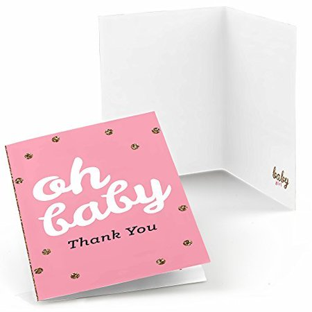 Hello Little One - Pink and Gold - Girl Baby Shower Thank You Cards (8 count) - Baby Shower Cards