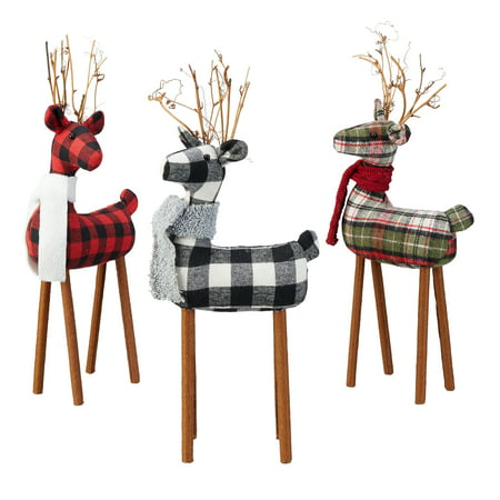Holiday Time Medium Fabric Deer Table Top Christmas Decorations, Multiple Colors, Set of 3