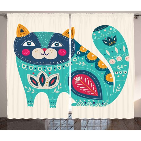 Animal Curtains 2 Panels Set, Cute Chubby Smiling Cat with Colorful Paisley Motif Ethnic Tribal Style Figures Art, Window Drapes for Living Room Bedroom, 108W X 63L Inches, Multicolor, by Ambesonne - Cute Chubby Teen