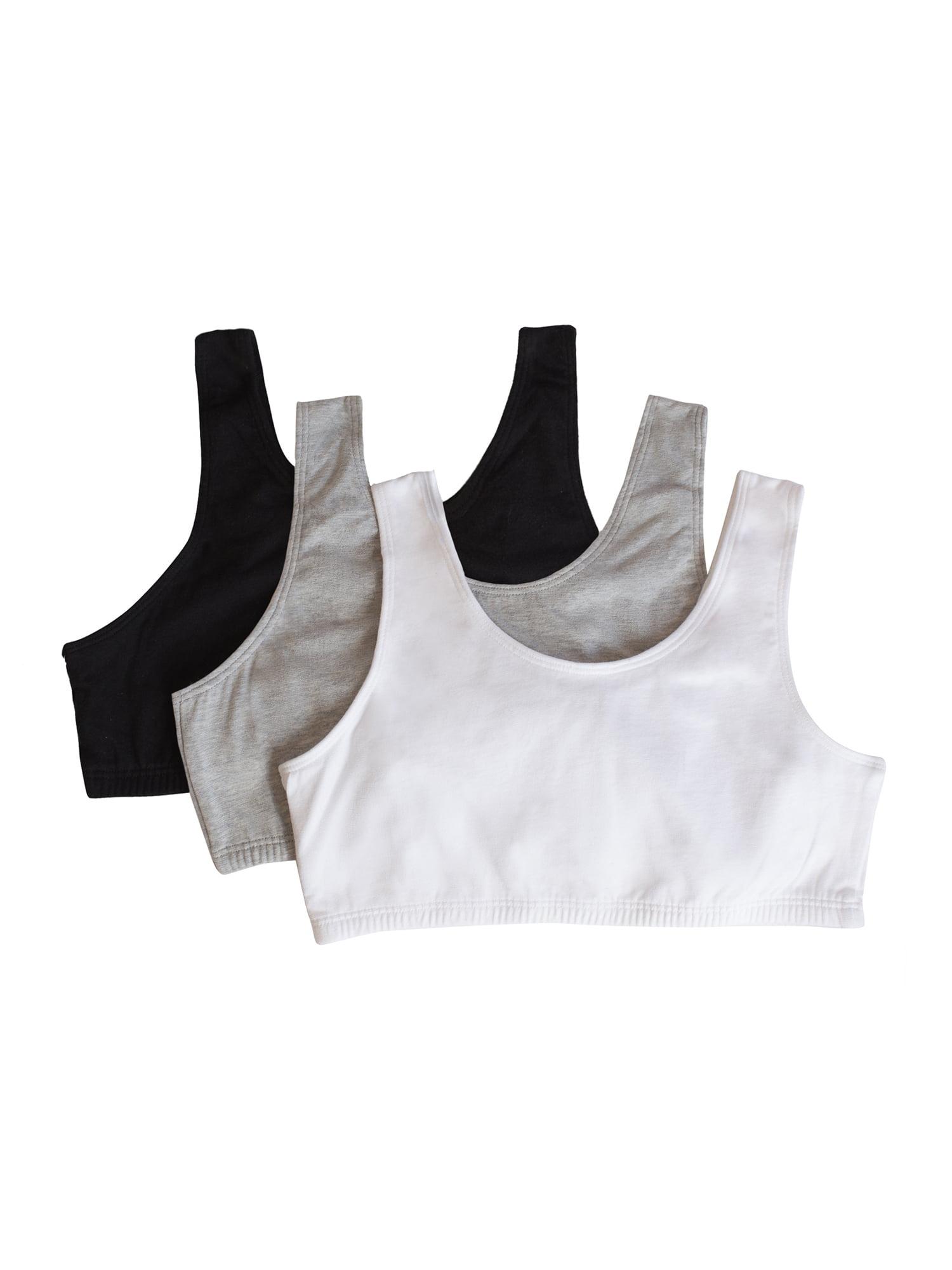 Girls Built Up Strap Cotton Sport Bra, 3 Pack