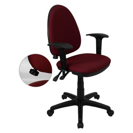 Multi Function Task Chair with Adjustable Lumbar Support, Arms, Burgundy or Navy Blue
