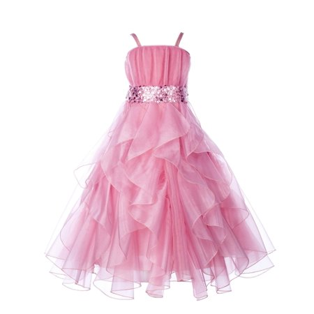 Ekidsbridal Formal Satin Organza Sequin Spaghetti-Straps Flower Girl Dress Bridesmaid Wedding Pageant Toddler Recital Holiday Communion Birthday Baptism Occasions 009 - Flower Girl Dresses Organza