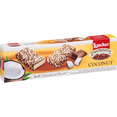 Loacker Gran Pasticceria Coconut Cookies, 3.53 oz, (Pack of 12)