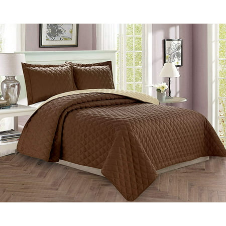 3-Piece Bedspread Coverlet Quilted Set with Shams - Full/Queen, Chocolate/Cream ()