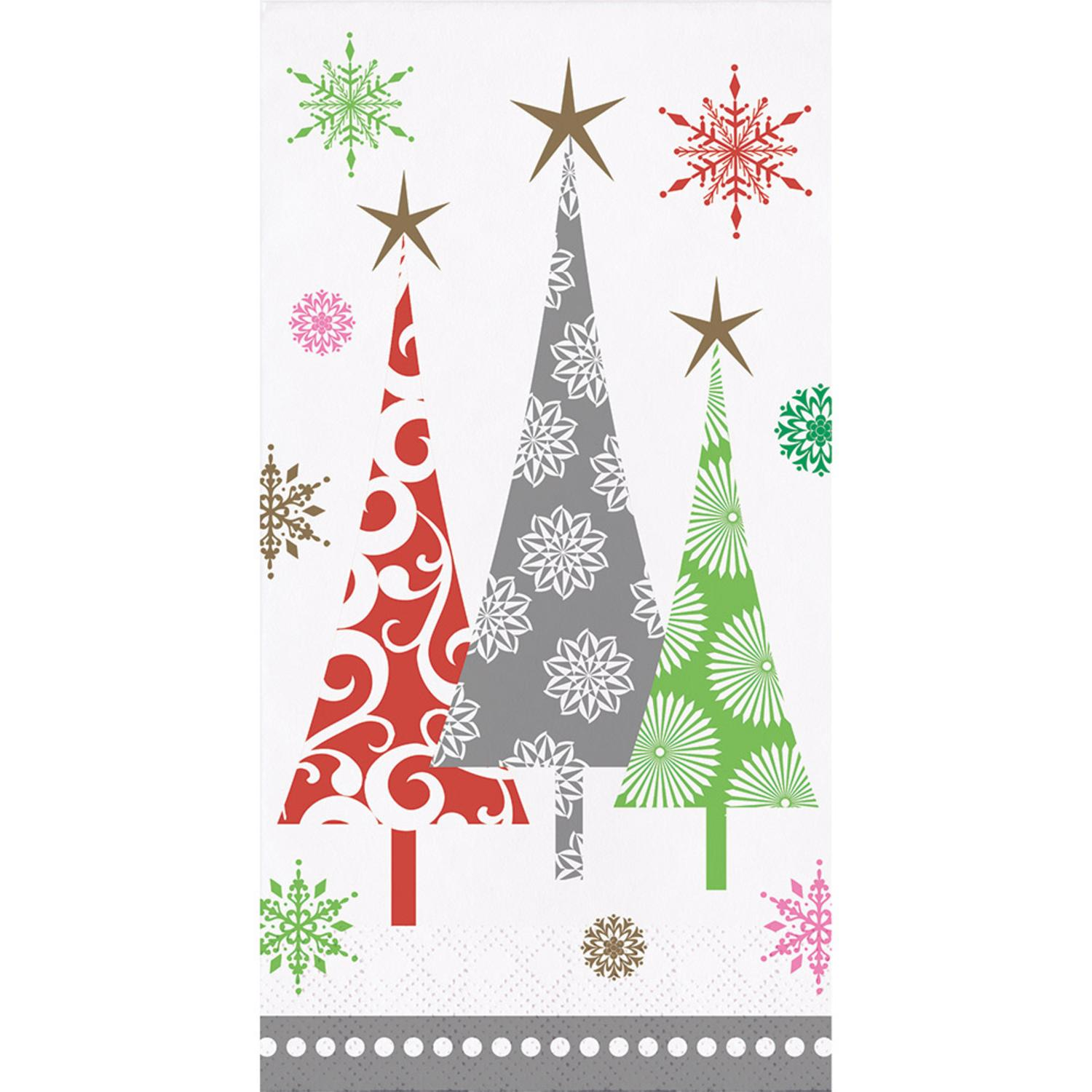 Club Pack of 288 Subtle Colors Christmas Trees Themed Dinner Napkins 7.75""