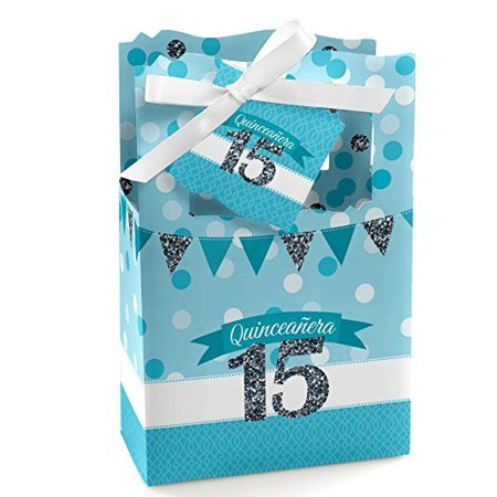 Quinceanera Teal - Sweet 15 - Birthday Party Favor Boxes - Set of 12 (Quinceanera Party Supplies)
