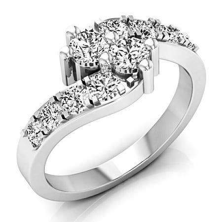 Dazzlingrock Collection 1.00 Carat (ctw) 14K White Diamond Ladies Two Stone Engagement Ring 1/2 CT, White Gold, Size 9.5