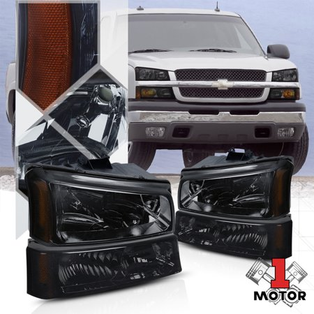 Smoke Tinted Headlight Amber Signal+Bumper for 03-07 Chevy Silverado/Avalanche 04 05 06