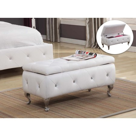 Jane White Upholstered Faux Leather Transitional Storage Ottoman Bench Wood Frame Crystal Ons Chrome Legs