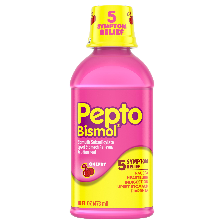 Pepto Bismol Liquid for Nausea, Heartburn, Indigestion, Upset Stomach, and Diarrhea Relief, Cherry Flavor, 16 oz