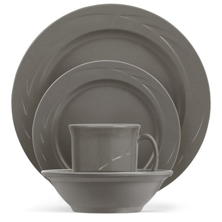 4 Place Settings Classic Dinnerware - ThermoServ Chef's Collection™ Classic - 16 Piece Melamine Dinnerware Set - Slate Grey