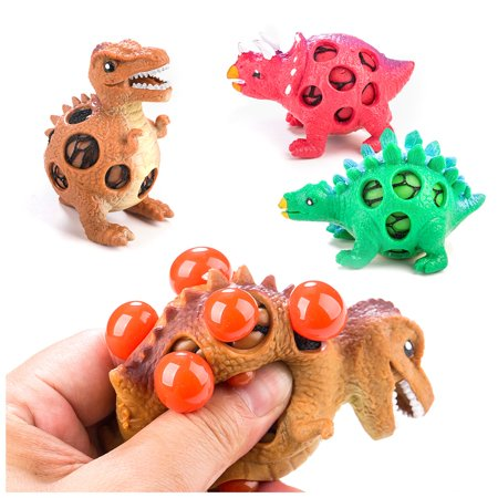 Dinosaur Stress Relief Toys for Kids and Adults: Best Stress Reduction Toy - 3 Dinosaur Stress Balls in 1