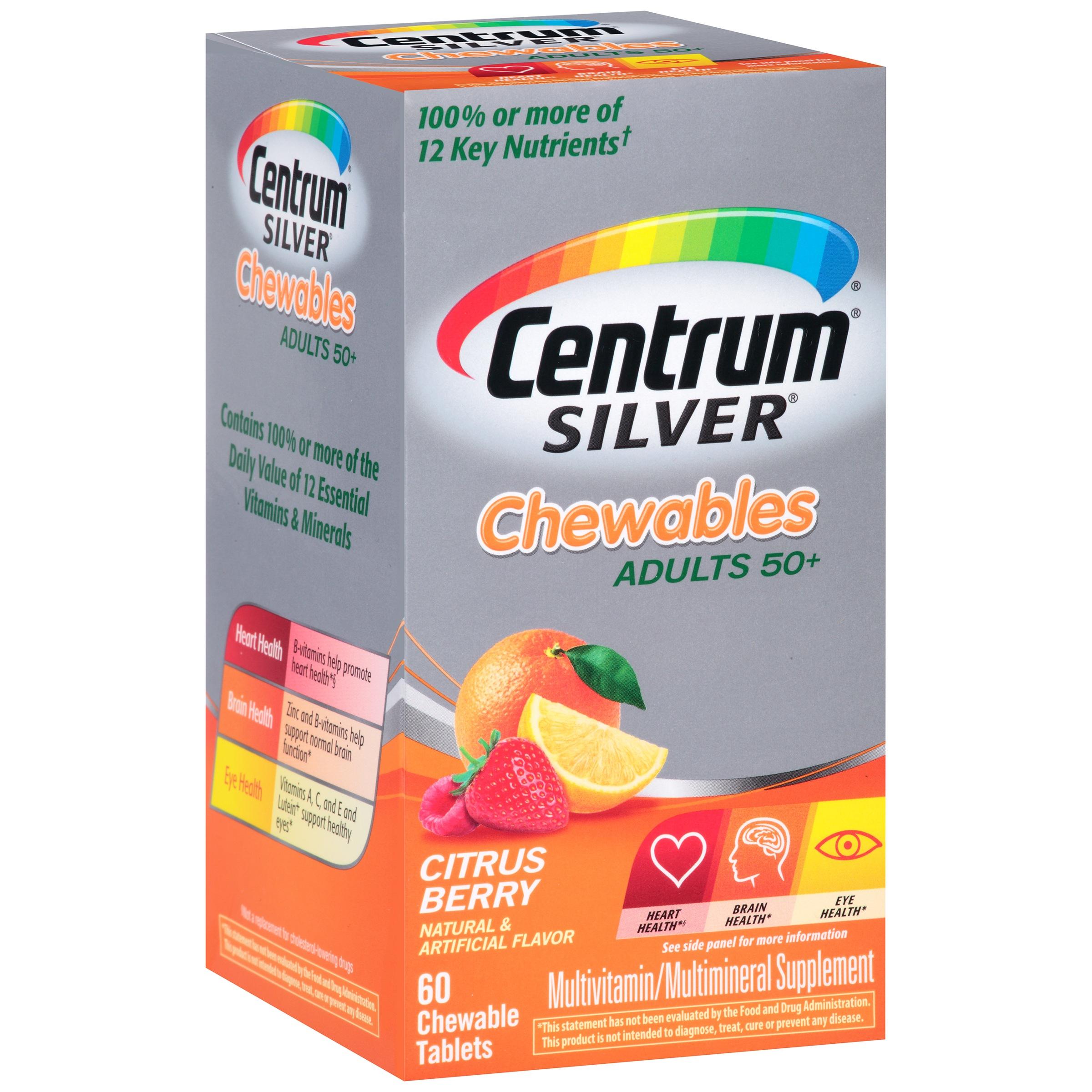 Centrum Silver Adult 50+ Multivitamin Chewables, Citrus Berry Flavor, 60 ct