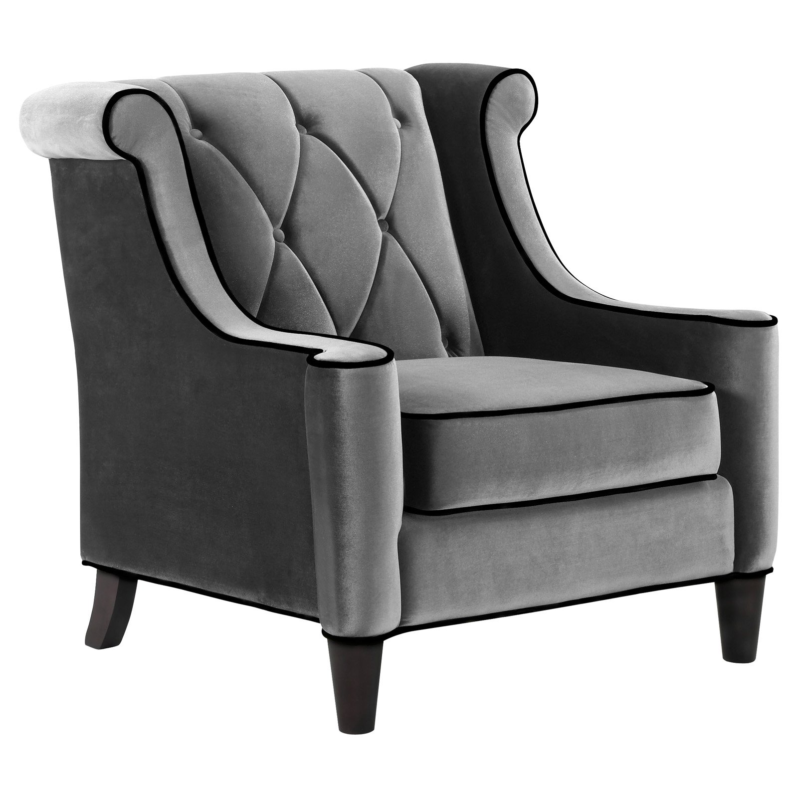 Armen Living Barrister Chair, Gray Velvet with Black Piping