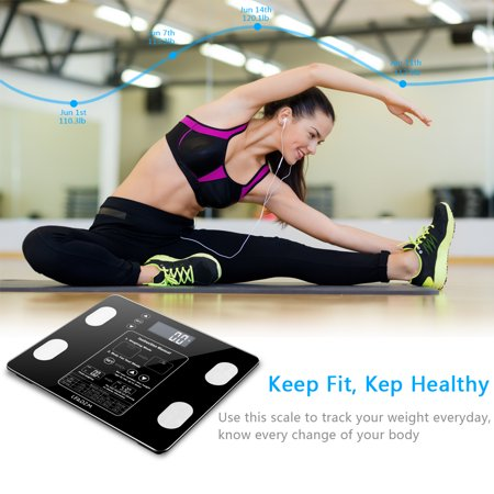 Phoebecat Bluetooth Body Fat Scale, Smart BMI Digital Bathroom Wireless Weight Scale Body Composition Monitor with iOS/Android APP for Body Weight, Fat, Water, BMI, BMR, Muscle Mass, Black