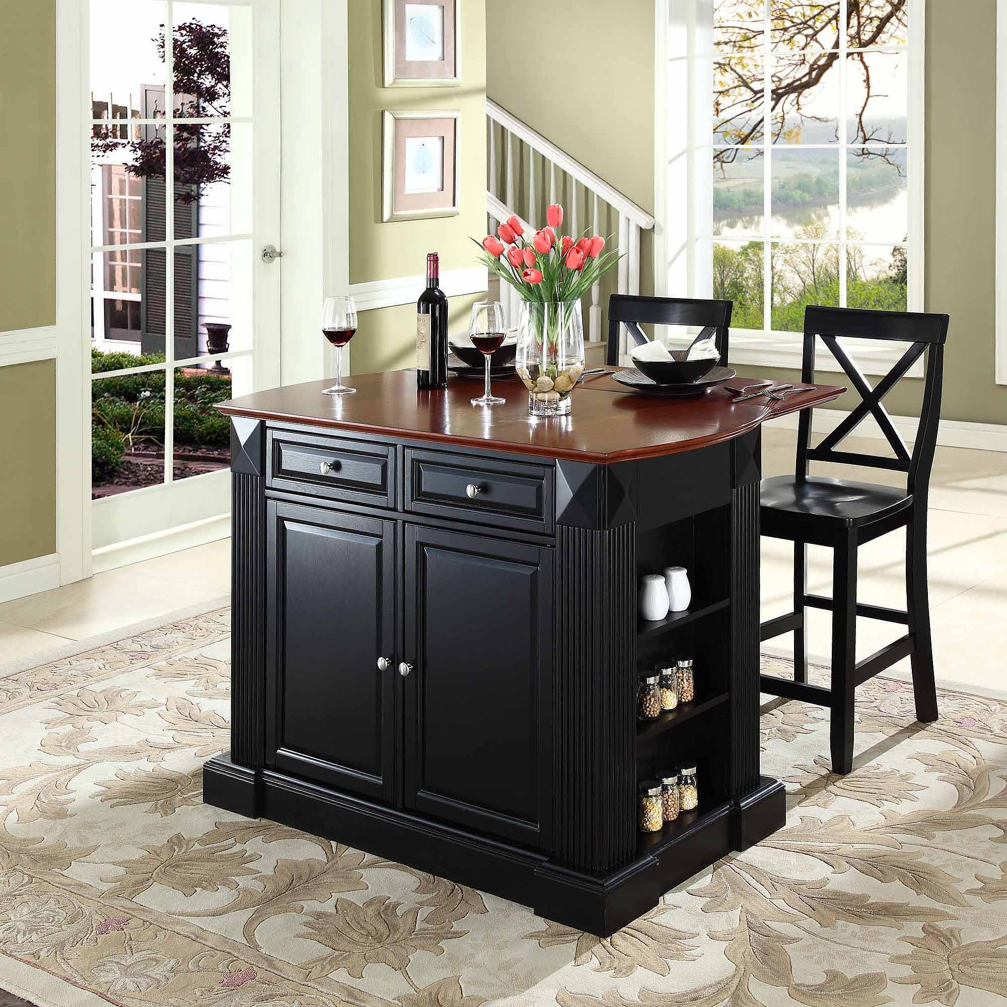 "Crosley Furniture Drop Leaf Breakfast Bar Top Kitchen Island with 24"" X-Back Stools"