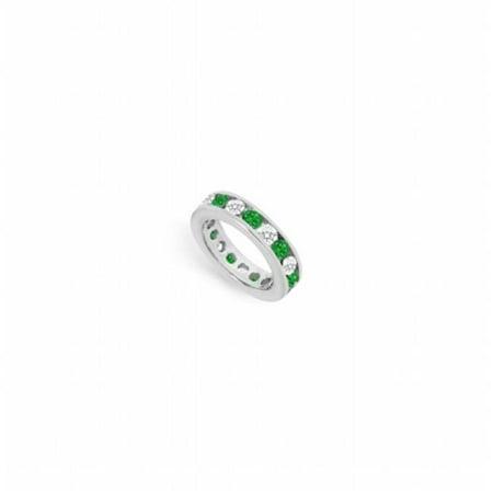 Diamond & Emerald Eternity Band in 14K White Gold 3 CT Third Wedding Anniversary Gift - Size 6