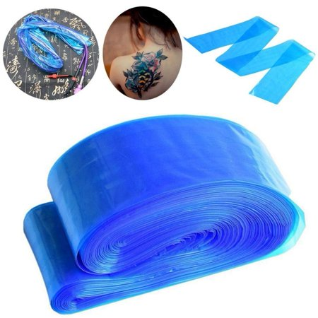 HERCHR 100PCS Disposable Plastic Blue Medical Hygiene Tattoo Machine Clip Cord Hook Sleeve Cover Bag, Tattoo Machine Clip Cord Sleeve, Disposable Clip Cord