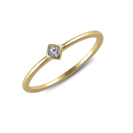 1/20 cttw Diamond Accent Princess Ring (VS clarity, G-H color) in 14k Yellow Gold ()