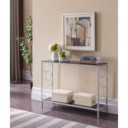 Rassy Modern Entryway 2 Tier Storage Console Sofa Side Table (Silver Metal Frame & Black Tempered Glass Top)