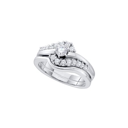 14kt White Gold Womens Round Diamond Swirl Bridal Wedding Engagement Ring Band Set 1/2 Cttw