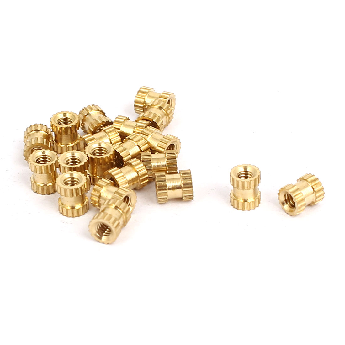 M2x4mmx3.5mm Brass Knurled Threaded Nut Insert Embedded Nuts Gold Tone 20pcs