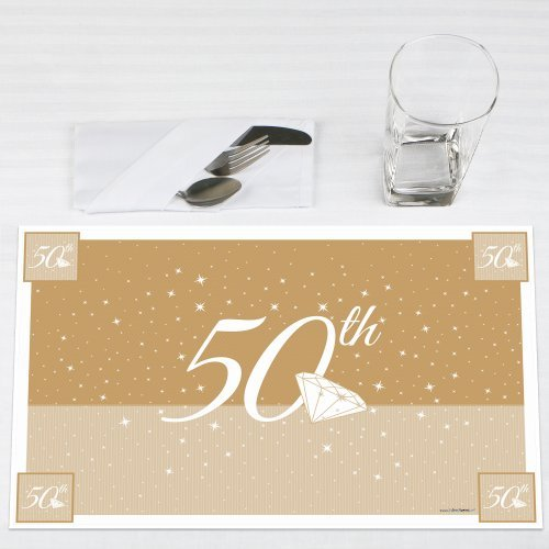 Click here to buy 50th Anniversary Party Placemats Set of 12 by Big Dot of Happiness, LLC.