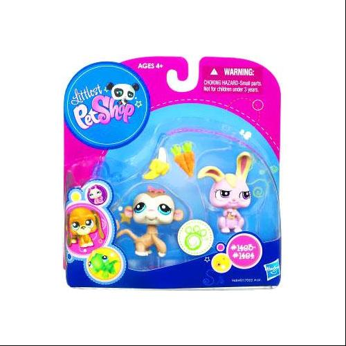 Littlest Pet Shop Monkey & Pink Bunny Rabbit Figure 2-Pack