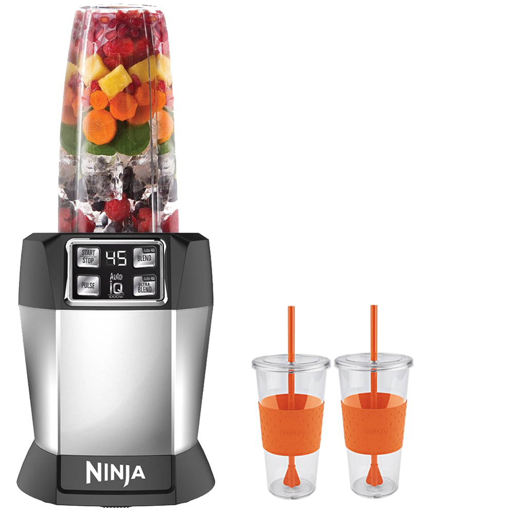 Ninja BL481 Nutri Auto-iQ Blender Duo 1000 Watts With 2 x Copco Eco First Tumbler 24 Ounce Togo Cup Mug - Orange