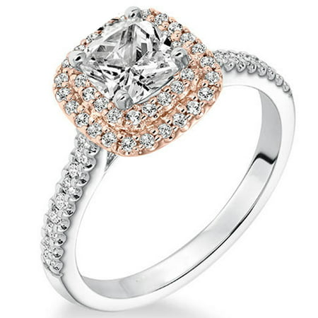 1 Carat Cushion Cut Real Diamond Double Halo Engagement Ring in 14k White Gold