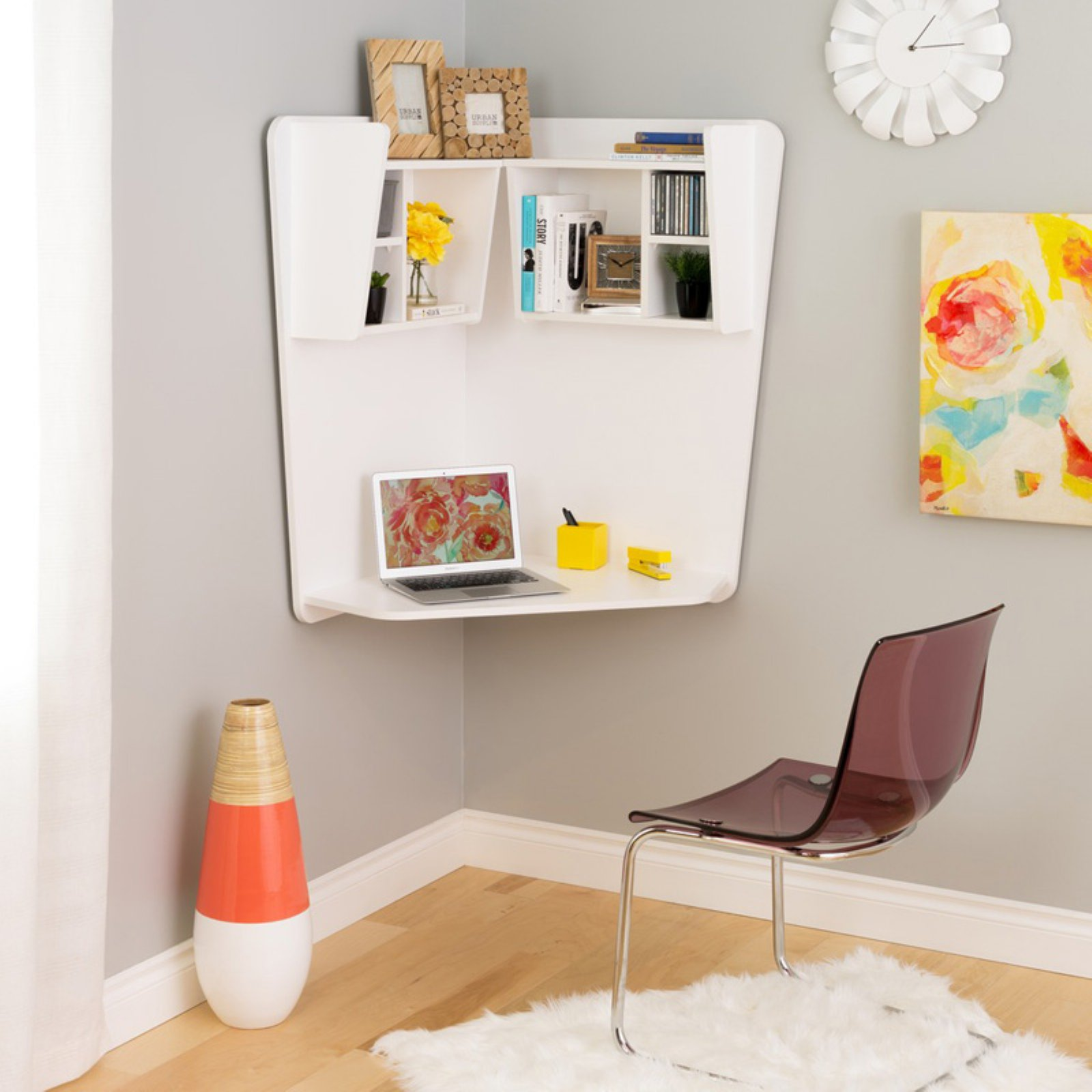 Prepac Floating Corner Desk, White