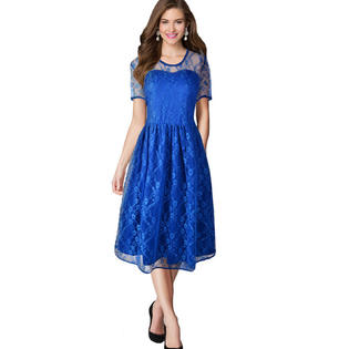 Women Halter Style Skirt Lace Dress Blue