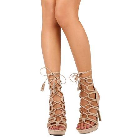 523b7b7f3f7 Wild Diva - Women Faux Suede Open Toe Lace Up Caged Platform Stiletto  Sandal FB68 - Walmart.com