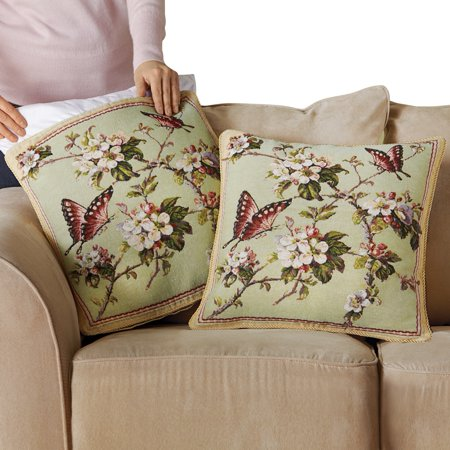 - Floral Butterfly Tapestry Pillow Covers - Set Of 2, Green