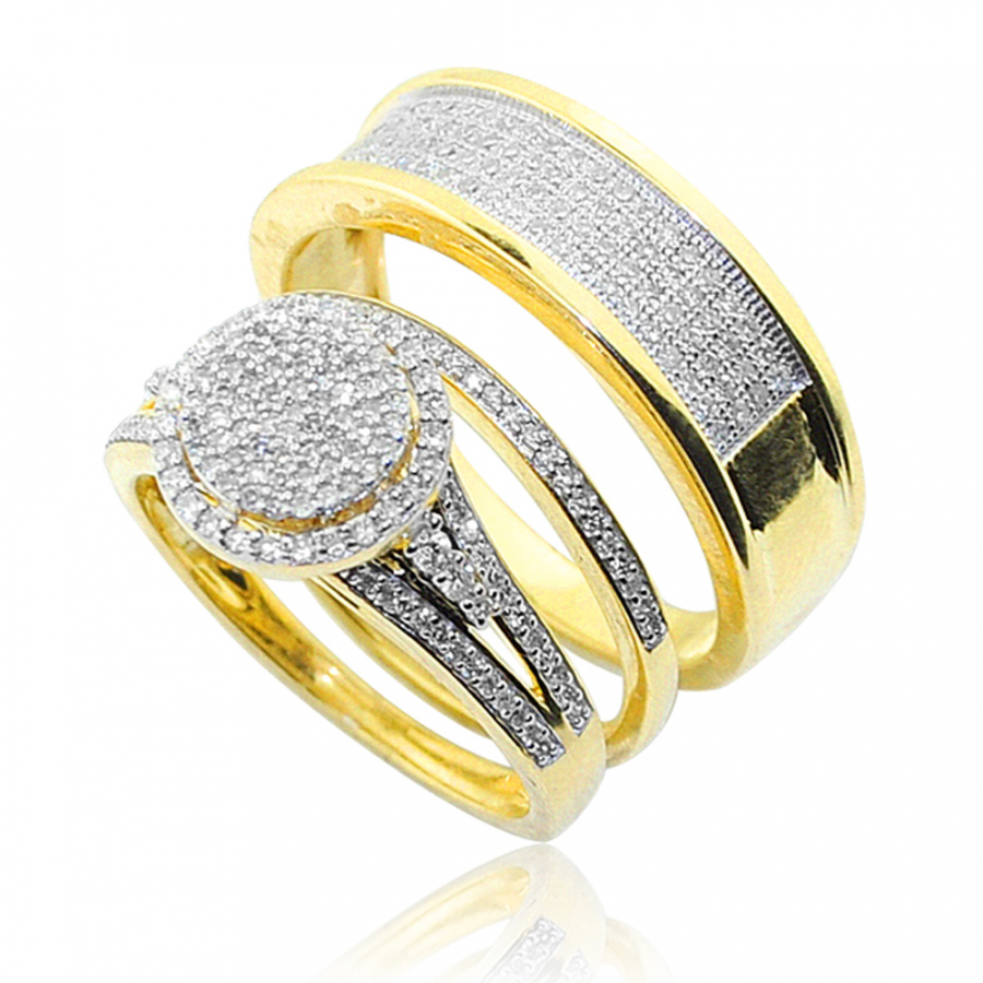 His and Her rings Set 3pc 10K Gold 0.66ctw Halo Style Pave Set
