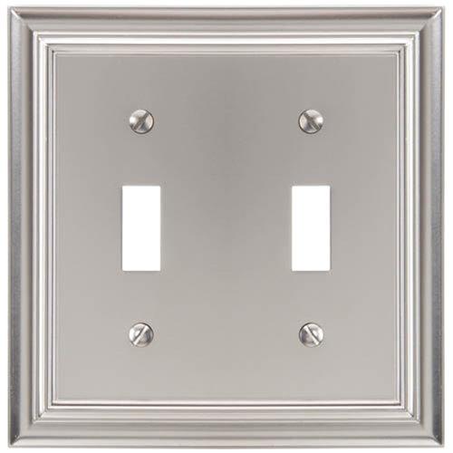 Elumina Continental Cast, Satin Nickel Wallplate, Double Toggle