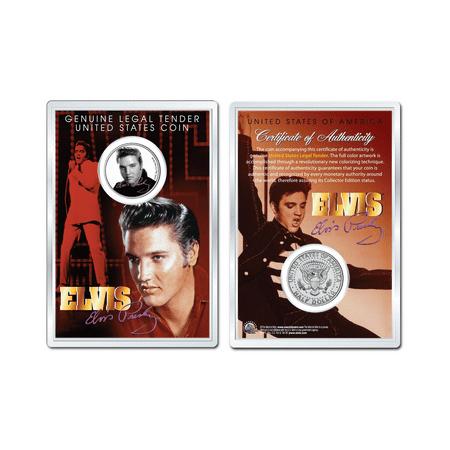 Elvis Presley   Black   White Portrait Jfk Half Dollar Us Coin In Premium Holder