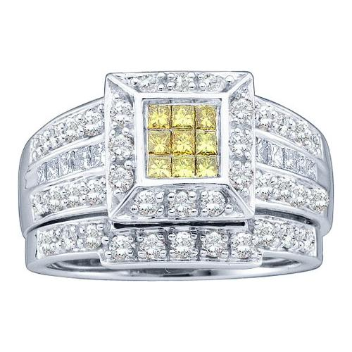 1.00Ctw Diamond Bridal Set With Square Princess Head Womens Fixed Ring Size - 7