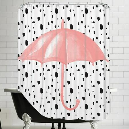 Brayden Studio Peach Gold Umbrella On Polka Dots Shower Curtain