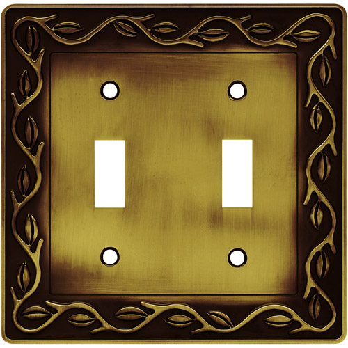 Brainerd Leaf and Vine Double-Switch Wall Plate, Tumbled Antique Brass