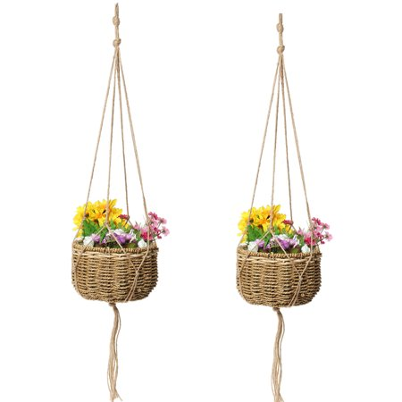 1-5PC(S) Pot Holder Jute Rope Macrame Plant Hanger Planter Hanging Basket Jute Rope Braided Craft For Home Garden Balcony