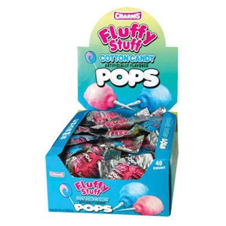 Charms Fluffy Stuff Cotton Candy Pops - 48 Lollipops/Box