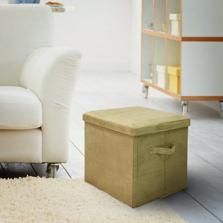Terrific Seat Pad Folding Storage Ottoman Micro Suede Cover Khaki Pabps2019 Chair Design Images Pabps2019Com
