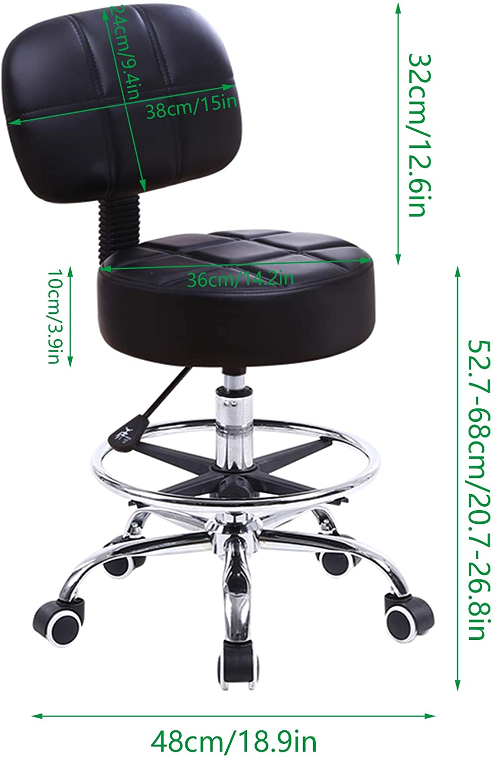 Kktoner Swivel Round Rolling Stool Pu Leather With Adjustable Foot Rest Height Adjustable Task Work Drafting Chair With Back Walmart Com Walmart Com
