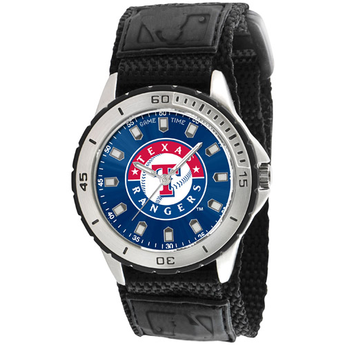 Game Time MLB Men's Texas Rangers Veteran Series Watch, Black Velcro Strap