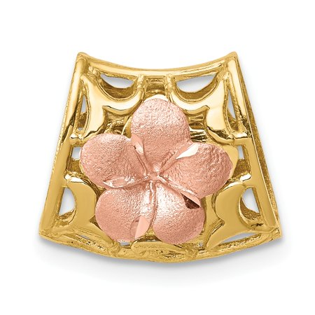 14k Tri-Color Yellow And Rose Gold Reversible Plumeria Flower Slide 13x14mm