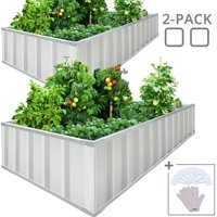 """KING BIRD 68""""x 36""""x 12"""" 2-Pack Easy for DIY Different Size Raised Garden Bed Galvanized Steel Metal Planter Kit Box Grey W/ 16pcs T-Types Tag & 2 Pair of Gloves Grey, 17 Cu. Ft. x2"""